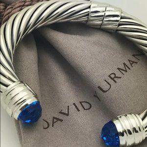 DAVID YURMAN 10mm BLUE TOPAZ SS CUFF BRACELET